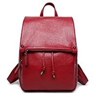 YAAGLE Classical Leather College Backpack Travel Shoulder Bag Daypack for Women Girls