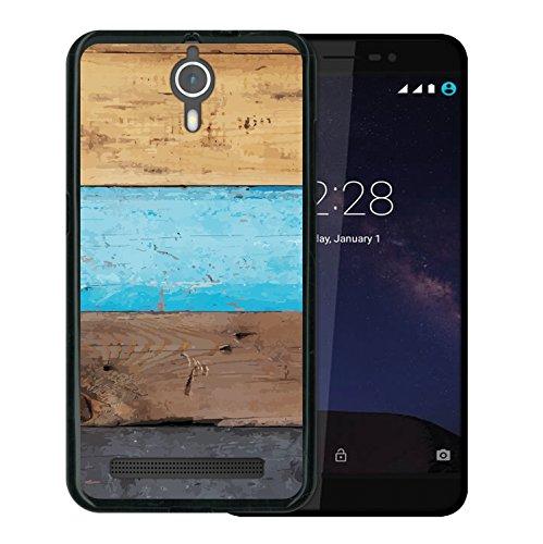 WoowCase Coolpad Porto S Hülle, Handyhülle Silikon für [ Coolpad Porto S ] Holzwand Handytasche Handy Cover Case Schutzhülle Flexible TPU - Schwarz