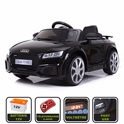 Cristom Voiture de Sport électrique 12V pour Enfant Audi TT RS Télécommande 2.4Ghz- Slot USB et Prise MP3 - Licence Audi (Noir)