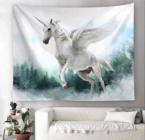 LoveTapestry Tapices Tapiz Un Unicornio Alado Decorado con Una Manta De Pared Dormitorio De Niña Cuelga Cortinas Tela Colgante,150X229 CM