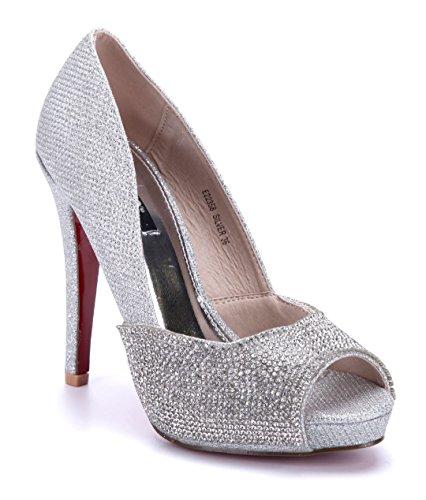 Schuhtempel24 Damen Schuhe Peeptoes Pumps Silber Stiletto Glitzer/Ziersteine/Schlupf 12 cm High Heels