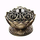 HshDUti Vaporisateur Fait Main de Support de Brûleur d'encens de Lotus Antique, décoration de Bureau à la Maison Bronze