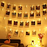 20 Clips Warm White : LED Photo String Lights-Magnolian 20 Photo Clips Battery Powered Fairy Twinkle Lights, Wedding Party Christmas Home Decor Lights For Hanging Photos, Cards And Artwork (7.2 Ft, Warm White)