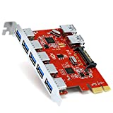 CSL - 7 Port USB 3.0 PCI Express (PCIe) Controller | 5x External (Ports) / 2 x Internal | 15 pin SATA Power Connection | Interface Card USB 3.0 Super Speed | Internal USB Hub