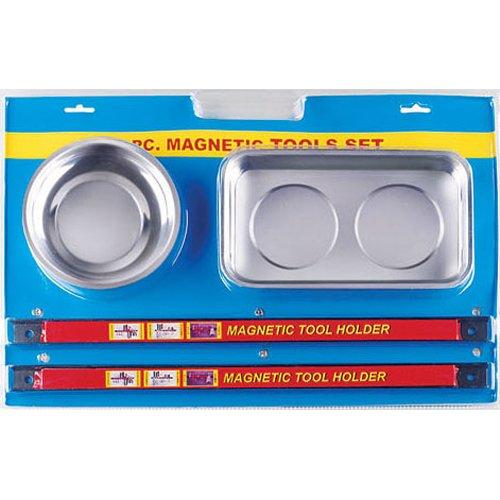2 x Magnetschale/Werkzeugschalen Magnetteller Magnetschüssel 2 x Magnetleiste Magnetschiene Werkzeugleiste Messerleiste/MAGNETHALTER SET Satz 4-tlg.