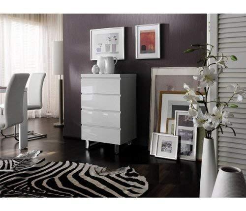 Robas Lund 48905W1 Sydney Kommode, 4 Schubkästen, Chromfüße, 56 x 93 x 42 cm, Hochglanz weiß - 4