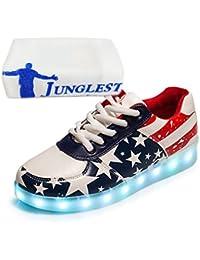 [Presente:peque?a toalla]Rojo EU 44, LED Unisex JUNGLEST? Zapatos Blanco 7 Rojo Hombres Light Up mod