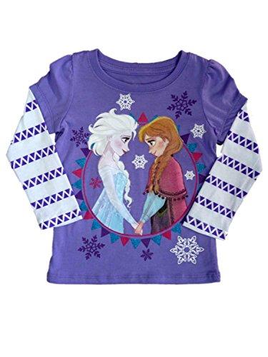 Frozen Kleinkind M?dchen Elsa & Anna T-Shirt Lila Schneeflocke Shirt 2T (Anna Frozen Shirt Kleinkind)