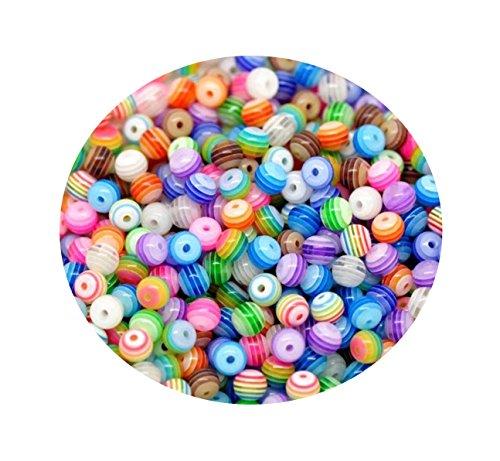 ca. 200 Stück Multicolour gestreiften Acryl Perlen Spacer Beads 6 mm