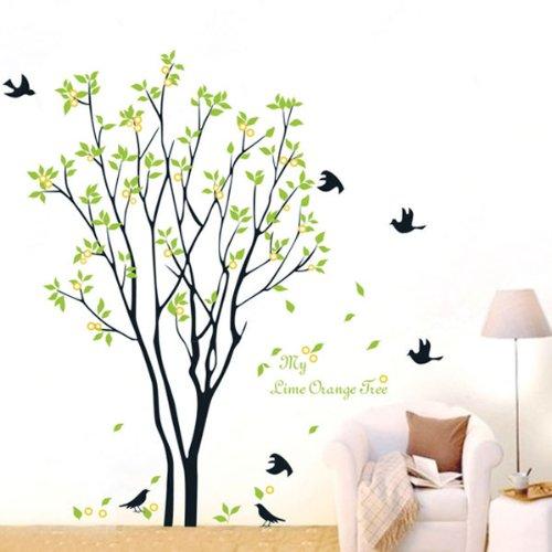 5-x-bestofferbuy-lime-orange-tree-falling-leaves-birds-wall-sticker-decal