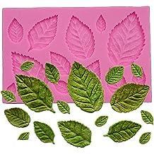 Wocuz Mini rosa hojas molde de silicona Fondant molde frontera Cupcake de repostería de silicona alfombrilla