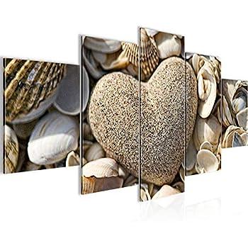 Runa Art Bilder Herz Muscheln Wandbild 120 x 80 cm Vlies