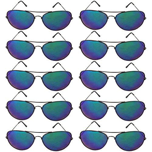 EL-Sunprotect Pilotenbrille Fliegerbrille Sonnenbrille Brille Top Design 10 er Set 2