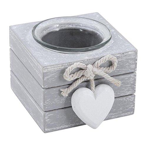 Aubry Gaspard -Photophore bougeoir en bois et verre avec cœur