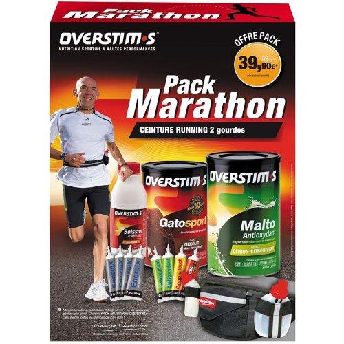 OVERSTIM - OVEMARA1 - Energie : Barres et Gels Pack Marathon - 3 Boîtes 1 Bouteille 8 Tubes 1 Cein
