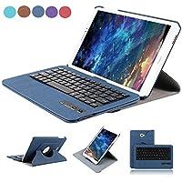 dingrich Galaxytab una carcasa de 10.1y keyboad, Fashion de piel sintética para Samsung Galaxy Tab A 10.1Smart inalámbrico, rotación de 360grados con atril y desmontable teclado bluetooth Funda Giratoria para Galaxy Tab A 10.12016(sm-t580) Incluye protector de pantalla y lápiz capacitivo, color azul oscuro