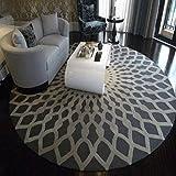 BAIXX Teppich Mode Schwarz und Weiß Rund Teppich Wohnzimmer Couchtisch Große Teppich Schlafzimmer Arbeitszimmer Karte Raum Teppich Chinesisch,120cm Durchmesser Runde,B