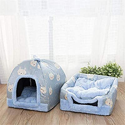 ZYZSYY Pet House Kennel Dog Bed Mat Cat Tent Nest Warm Puppy Rabbit Cave Bed Foldable Pet Basket Cat Sleeping Bed by ZYZSYY