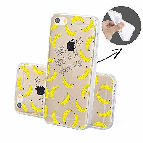 FINOO | Silikon-Handy-Case für iPhone 5 / 5S | weiche, transparente, flexible Silikon-Handy-Hülle mit verschiedenen modernen Motiven für Apple Smartphone | Newton Banane