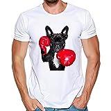 NPRADLA Casual Chemise à Manches Courtes Hommes Imprimer Un été T- Shirt Blanc Tops Blouse