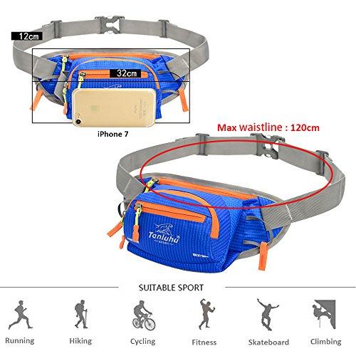 Marsupio Sportivo SINOKAL Cintura Borsa Cintura Corsa Multifunzione Marsupio Running per Uomo Donna Hydration Marsupio Con il supporto della bottiglia di acqua per Escursionismo In esecuzione Ciclismo Blu