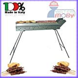 Mistermoby Stainless Steel Barbecue for Grilling Skewers Meat on a Stick Kebab Meat Bread Fish Lenght 50 Cm The Original