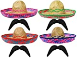 PINK MEXICAN SOMBRERO STRAW HAT + MOUSTACHE PERFECT FOR ANY MEXICO SOMBREROS FANCY DRESS PARTY FOR MEN AND WOMEN WHOLESALE - X6 SOMBRERO + X6 MOUSTASHE