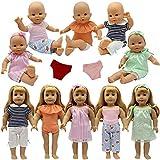 ZITA ELEMENT Vêtements pour Poupées Bébé 14 - 16 Pouces et American 18inch Girl Doll 18 Pouces | 5 Vêtements & Rode avec 2 sous-vêtements et 2 Bandeaux