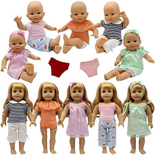 ZITA ELEMENT 9 STK. Puppenkleidung Bekleidung Zubehör für 35-46cm Babypuppe Puppen Kleider Unterwäsche Stirnband Oberteil Hosen Puppenkleid - Unterwäsche-set Puppenkleidung