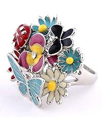 Colorido colorido goteo mariquita mariposa anillo de flores