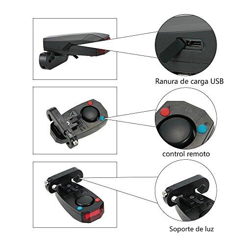 Docooler Inteligentes Anti robo de la Bicicleta Luz Trasera Alarmante LED de Luz Estroboscópica de Advertencia Ciclismo Timbre Eléctrico con el Cable USB