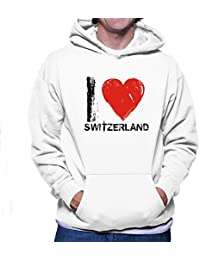 Teeburon I LOVE Switzerland Vintage Sudadera con capucha
