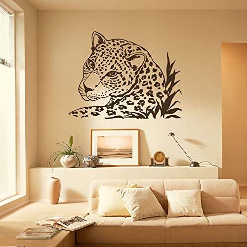 JJHR Wandtattoos Wandaufkleber Wandtattoo Leopard Tiger Wild Cat Animals Safari Aufkleber Wohnkultur Schlafzimmer Wohnzimmer Wandbilder Dekor Aufkleber 55 * 73 cm (Für Safari-dekor Wohnzimmer)