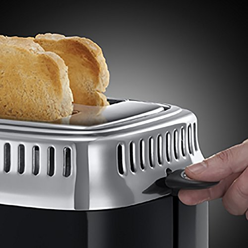 Russell Hobbs 21681-56 Retro Classic Noir Toaster mit stylischer Countdown-Anzeige, Schnell-Toast-Technologie, 1300 W, schwarz -