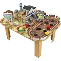 KidKraft 17209 Disney® Pixar Cars 3 Thomasville Track Set & Table. Including 73-pieces with stadium-style seating for spectator cars and a two-car garage with doors that open and close.