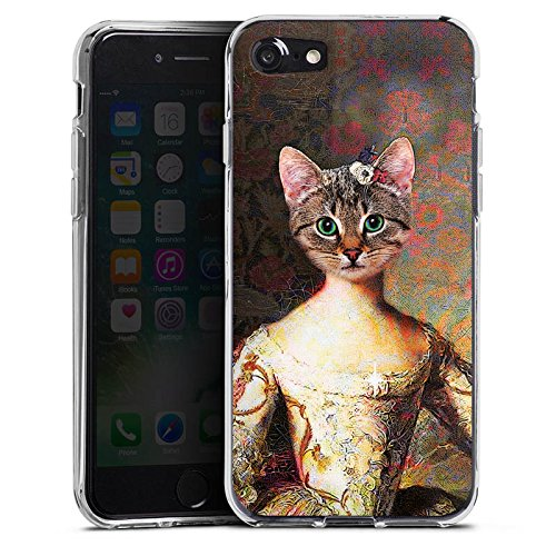 Apple iPhone 8 Plus Tasche Hülle Flip Case Katze Cat Kitty Silikon Case transparent