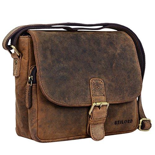 STILORD 'Lucian' Vintage Umhängetasche Leder klein für Herren und Damen braune Schultertasche für 10.1 Zoll Tablet iPad DIN A5 Handtasche aus echtem Leder