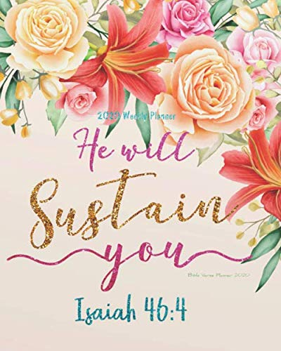 """Bible Verse Planner 2020: Floral Cover Bible Quote Weekly Daily Monthly Planner 2020,  8"""" x 10"""" Calendar 2020 Weekly Planner Floral Pattern Schedule ... (Bible Quotes 2020 Planner Series, Band 5)"""