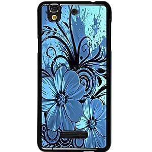 Casotec Cute Floral Blue Design 2D Hard Back Case Cover for Micromax Yu Yureka AQ5510 / AO5510 - Black