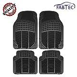 Fabtec Black PVC Floor Mat/Rubber Foot Mat (Set of 4 Pcs) for Tata Tiago