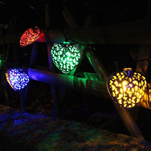 jojoo luci in metallo Globe Lanterne Ornamento per giardino, matrimoni, feste, e Natale, ambra Warm white Heart