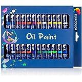 Ensemble de 24 tubes de peinture à l'huile par Zenacolor - Pack de 24 x 12mL - Peinture huile de qualité supérieure - 24 Couleurs uniques et différentes - Idéal pour débutant ou professionnel - Pigments riches - Facile à peindre sur toile, argile ou papiers peints ...