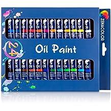 Set de 24 tubos de pintura al óleo Zenacolor - Pack de 24 x 12mL - Pinturas al óleo de calidad superior, no tóxicas - 24 colores únicos y diferentes - Ideal para principiantes o profesionales - Pigmentos abundantes - Sencillas de en tela, arcilla, papel pintado, decoración de ventanas…