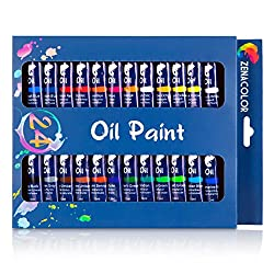 24-Tube Oil Paint Set by Zenacolor - Pack of 24 x 12ml Paint Tubes - High-Quality Non-Toxic Paint with Dense and Rich Pigments - Can Easily be Used on Canvas, Clay, Wallpapers or Decorative Windows