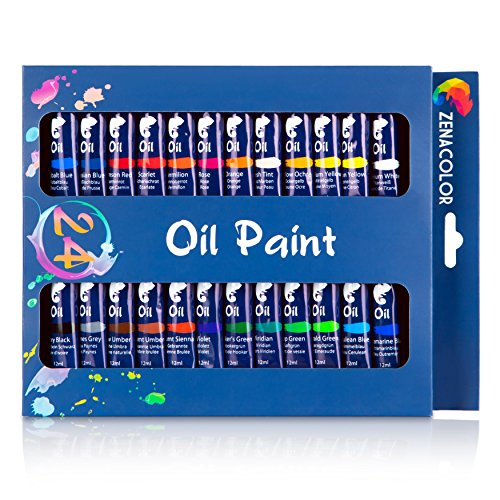 Set de 24 tubos de pintura al óleo Zenacolor - Pack de 24 x 12mL - Pinturas al óleo de calidad superior, no tóxicas - 24 colores únicos y diferentes - Ideal para principiantes o profesionales - Pigmentos abundantes - Sencillas de en tela, arcilla, papel pintado, decoración de ventanas…