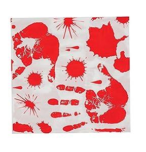 Set 6Platos Zombie Bloody de papel Servilletas 33x33 cm blanco/rojo