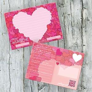 52 Postkarten Hochzeit - PORTOFREI möglich - Postkarten Set Hochzeit mit 52 Karten zur Hochzeit. Hochzeitsspiele mit Karten für Gäste und Brautpaar. Gute Wünsche Karten Herz