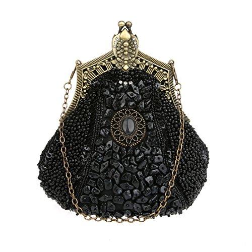 KAXIDY Damen Samen-Perlen Abendtasche Hochzeit Bead-hand-knit Abschlussball Party-Abend Handtasche (Schwarz) -