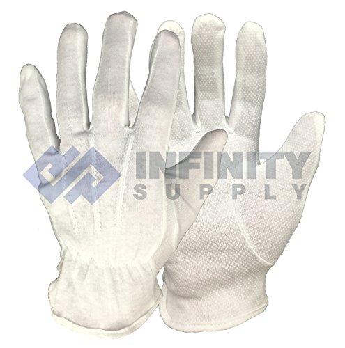 1Paar Schmuck Antiquitäten Armbanduhr Schöpfern Handhabung Handschuhe oder weiß schwarz Baumwolle Micro Dots Qualität (10–Extra Groß, Weiß)