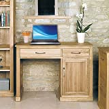 Mobel Eiche massiv 1Tür 2Schubladen 1Ständer Computer-Schreibtisch in EICHE HELL Finish | Schminktisch aus Holz mit Speicher